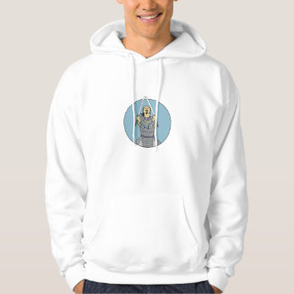 Samurai Warrior Two Swords Looking Up Circle Drawi Hoodie