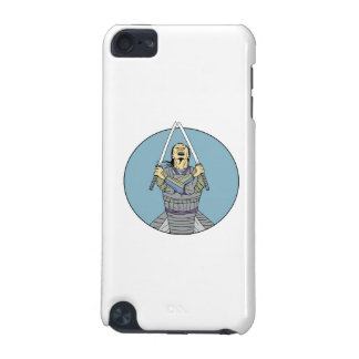 Samurai Warrior Two Swords Looking Up Circle Drawi iPod Touch 5G Case