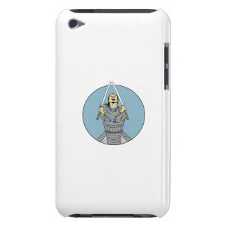 Samurai Warrior Two Swords Looking Up Circle Drawi iPod Touch Cases