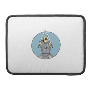 Samurai Warrior Two Swords Looking Up Circle Drawi MacBook Pro Sleeve