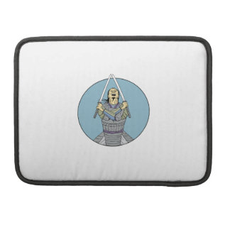 Samurai Warrior Two Swords Looking Up Circle Drawi Sleeve For MacBook Pro