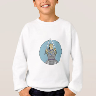 Samurai Warrior Two Swords Looking Up Circle Drawi Sweatshirt