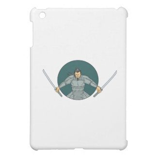 Samurai Warrior Wielding Two Swords Oval Drawing Cover For The iPad Mini