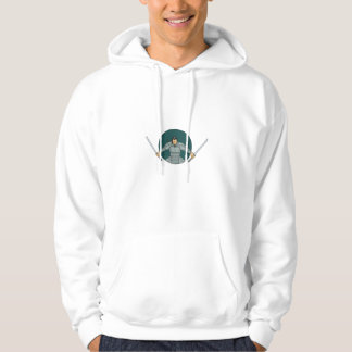 Samurai Warrior Wielding Two Swords Oval Drawing Hoodie