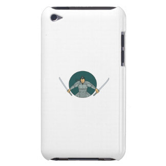 Samurai Warrior Wielding Two Swords Oval Drawing iPod Touch Case