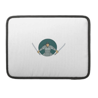 Samurai Warrior Wielding Two Swords Oval Drawing Sleeve For MacBooks
