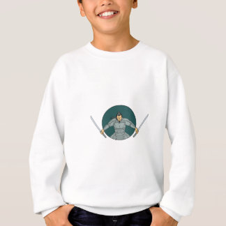 Samurai Warrior Wielding Two Swords Oval Drawing Sweatshirt