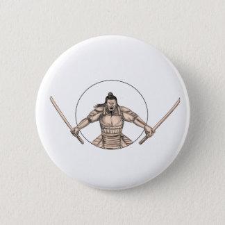 Samurai Warrior Wielding Two Swords Tattoo 2 Inch Round Button