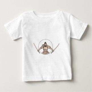 Samurai Warrior Wielding Two Swords Tattoo Baby T-Shirt