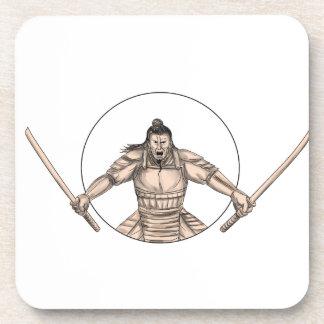 Samurai Warrior Wielding Two Swords Tattoo Coaster