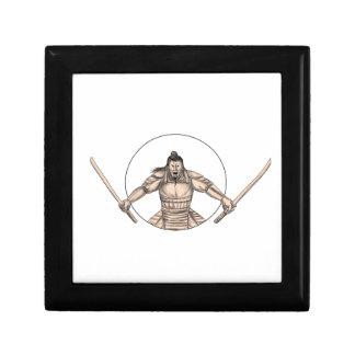 Samurai Warrior Wielding Two Swords Tattoo Gift Box
