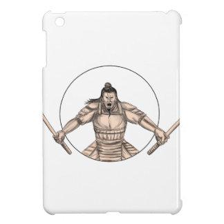 Samurai Warrior Wielding Two Swords Tattoo iPad Mini Covers