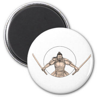 Samurai Warrior Wielding Two Swords Tattoo Magnet