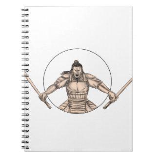 Samurai Warrior Wielding Two Swords Tattoo Notebooks
