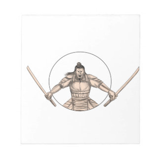 Samurai Warrior Wielding Two Swords Tattoo Notepad