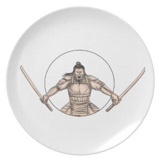 Samurai Warrior Wielding Two Swords Tattoo Party Plate