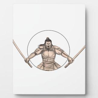 Samurai Warrior Wielding Two Swords Tattoo Plaque