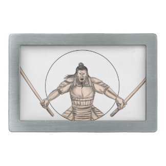 Samurai Warrior Wielding Two Swords Tattoo Rectangular Belt Buckle