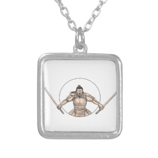 Samurai Warrior Wielding Two Swords Tattoo Silver Plated Necklace