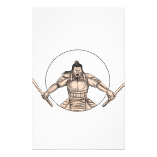 Samurai Warrior Wielding Two Swords Tattoo Stationery