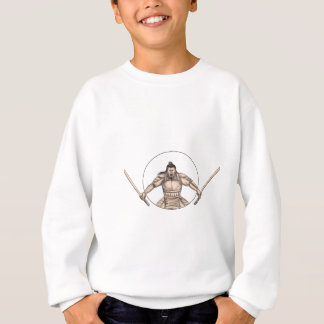 Samurai Warrior Wielding Two Swords Tattoo Sweatshirt