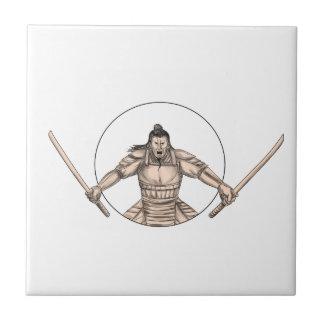 Samurai Warrior Wielding Two Swords Tattoo Tile