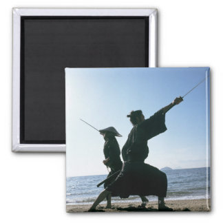 Samurai warriors attacking each other 9 square magnet