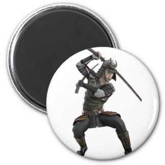 samurai with 2 swords in a squat form 2 inch round magnet
