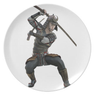 samurai with 2 swords in a squat form party plates