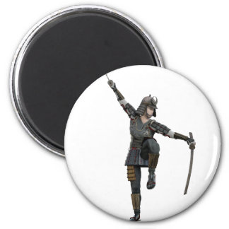 Samurai with 2 swords looking down to the left 2 inch round magnet