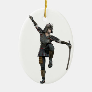 Samurai with 2 swords looking down to the left ceramic oval ornament