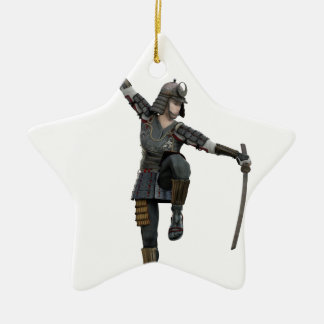 Samurai with 2 swords looking down to the left ceramic star ornament
