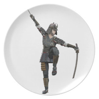 Samurai with 2 swords looking down to the left party plate
