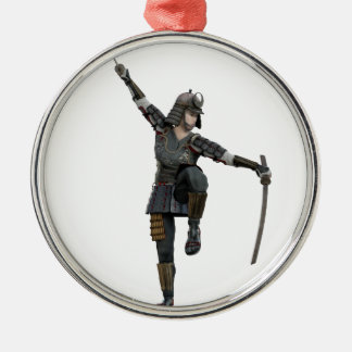 Samurai with 2 swords looking down to the left Silver-Colored round ornament
