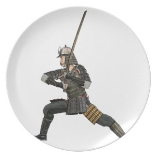 samurai with a sword in a defensive form party plate
