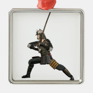samurai with a sword in a defensive form Silver-Colored square ornament