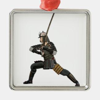 samurai with a sword in a defensive form Silver-Colored square ornament