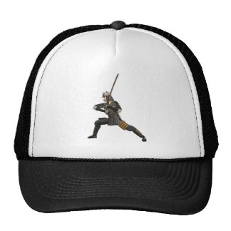 samurai with a sword in a defensive form trucker hat