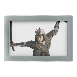 samurai with two swords in a full squat belt buckle