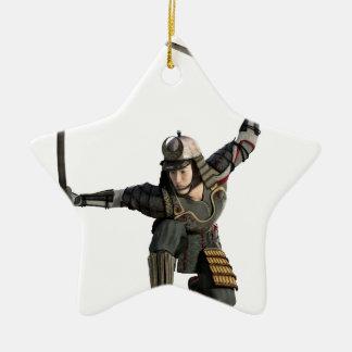 samurai with two swords in a full squat ceramic star ornament