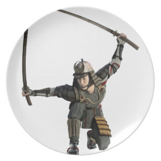 samurai with two swords in a full squat plates
