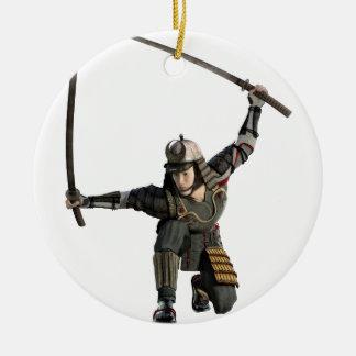 samurai with two swords in a full squat round ceramic ornament
