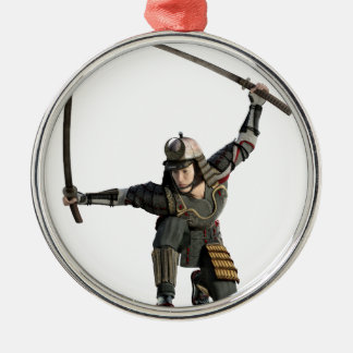 samurai with two swords in a full squat Silver-Colored round ornament