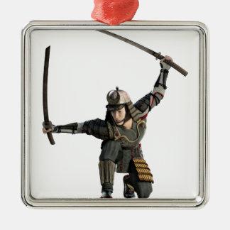 samurai with two swords in a full squat Silver-Colored square ornament