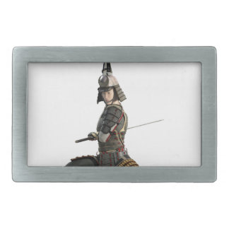 samurai with two swords looking to the front belt buckle