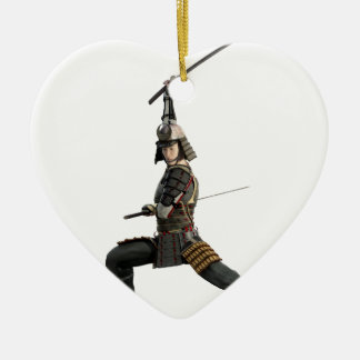 samurai with two swords looking to the front ceramic heart ornament
