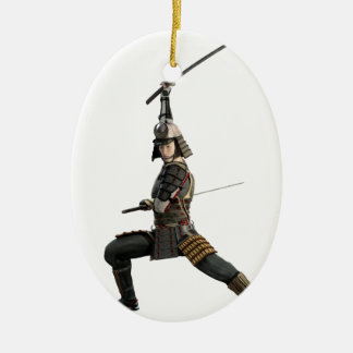 samurai with two swords looking to the front ceramic oval ornament