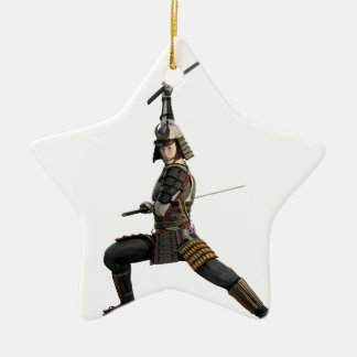 samurai with two swords looking to the front ceramic star ornament