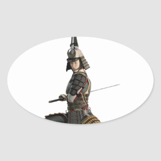 samurai with two swords looking to the front oval sticker
