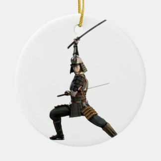samurai with two swords looking to the front round ceramic ornament